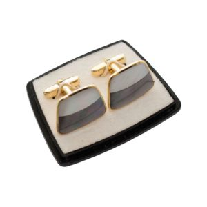 Pair of cufflinks with purple nacre
