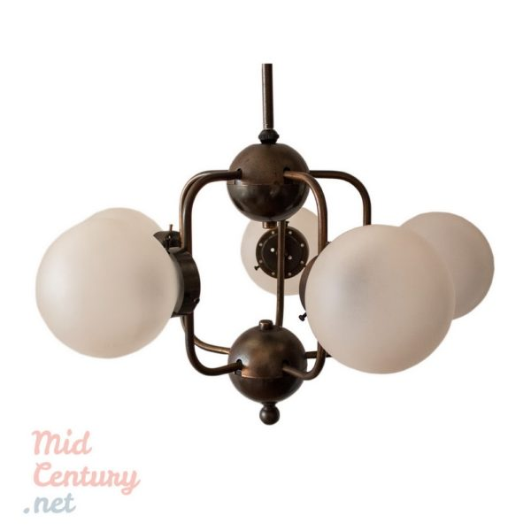 Beautiful Atomic Age ceiling lamp with 5 lights
