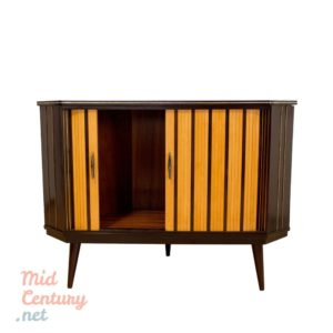 Corner sideboard with rolling shutters