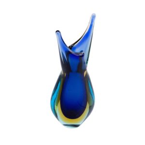 Murano sommerso vase in blue and yellow