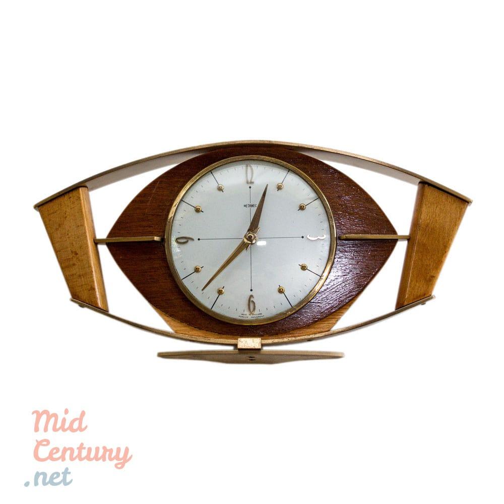 Metamec Mantel Clock Made Of Wood And Brass Mid Century