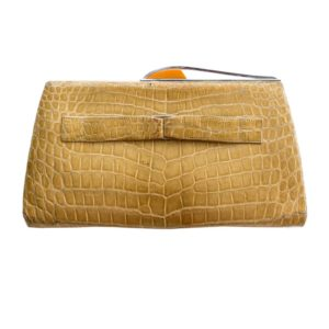 Reptile leather clutch handbag