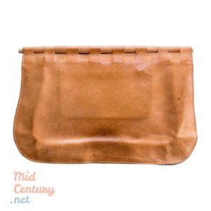 Brown leather clutch handbag