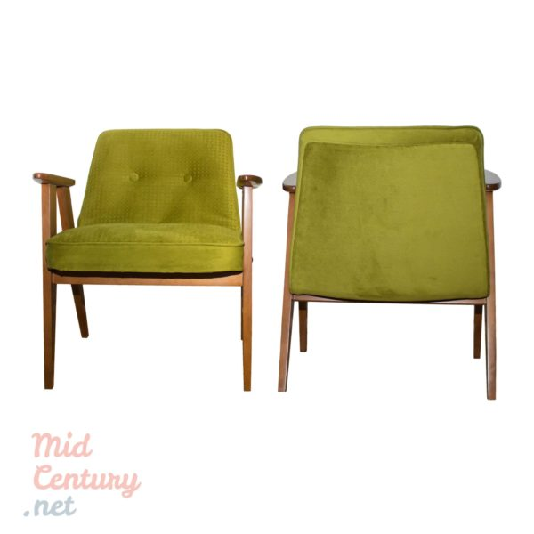 Pair of Józef Chierowski's 366 armchairs made in Poland
