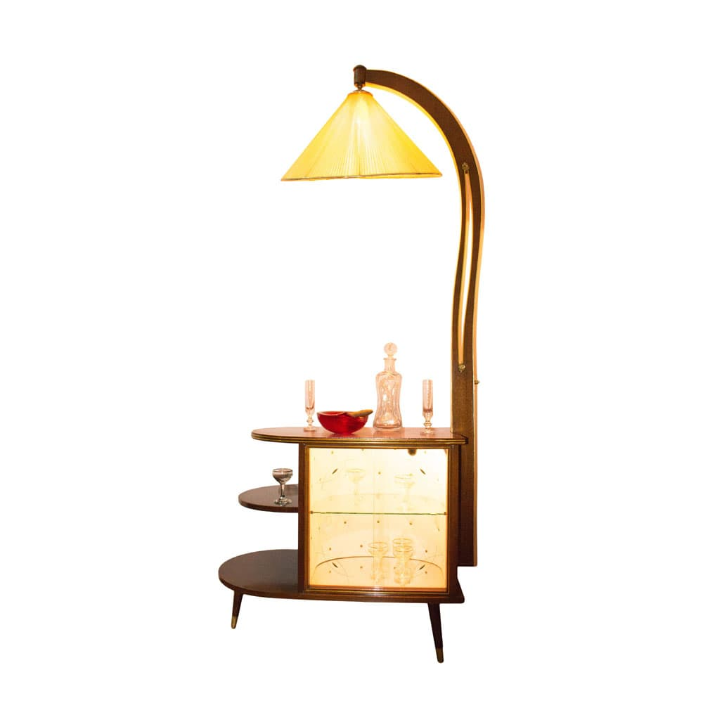 Minibar (cabinet) with attached lamp