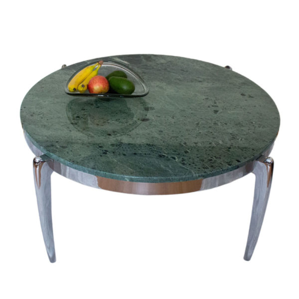 Spectacular coffee table made of marble and stainless steel