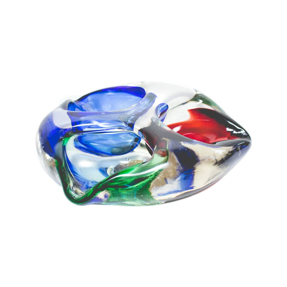 Tricolor Murano ashtray (or dish) in blue, red and green