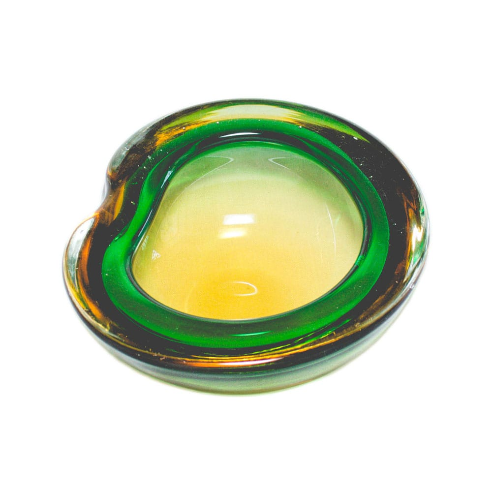 Green and brown bowl made in Murano, in the 1950s