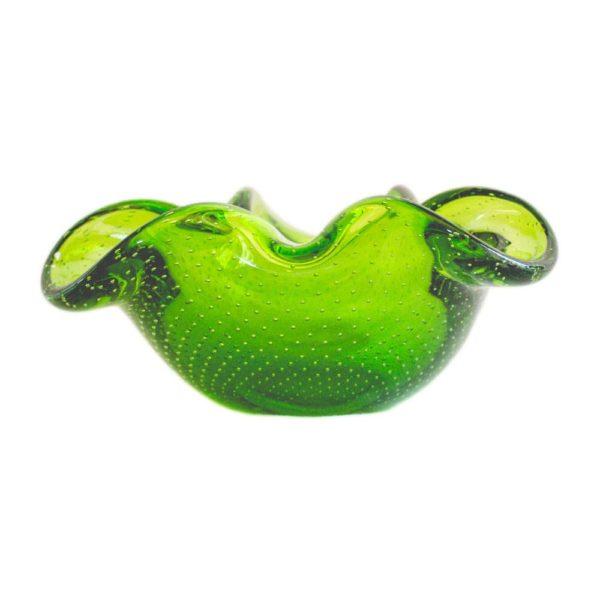 Green bullicante Murano ashtray