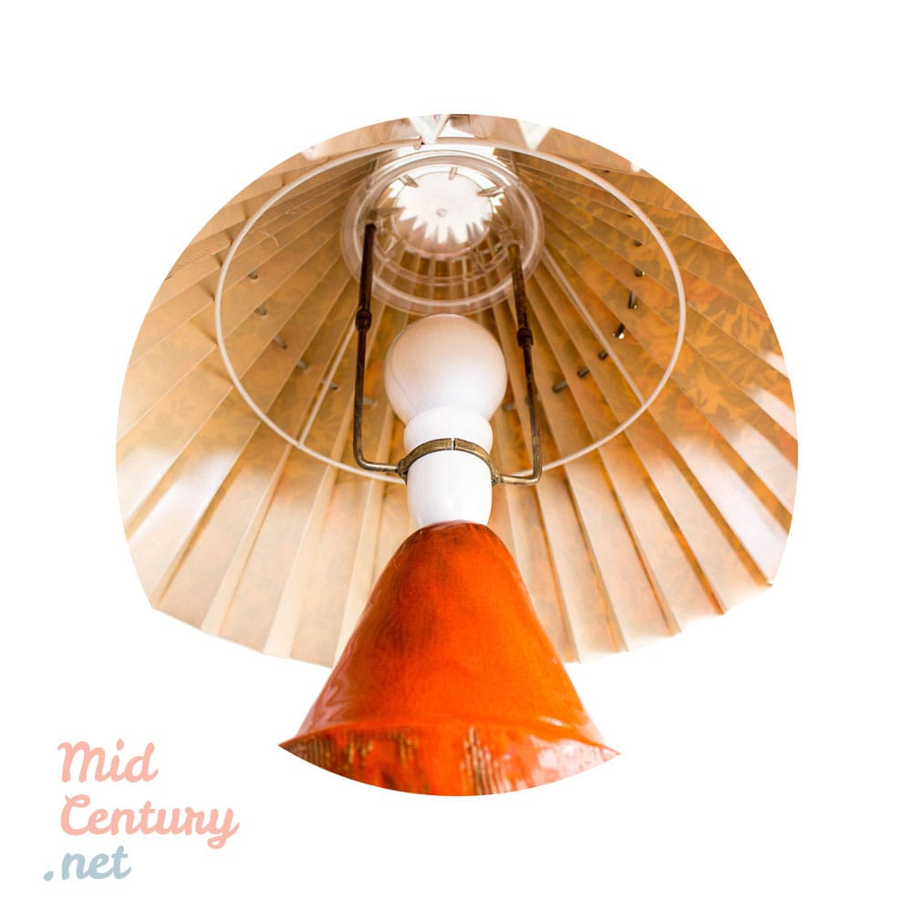 Ceramic orange glazed table lamp made in Denmark