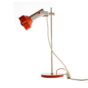Atomic Age orange table lamp made by AKA Electric