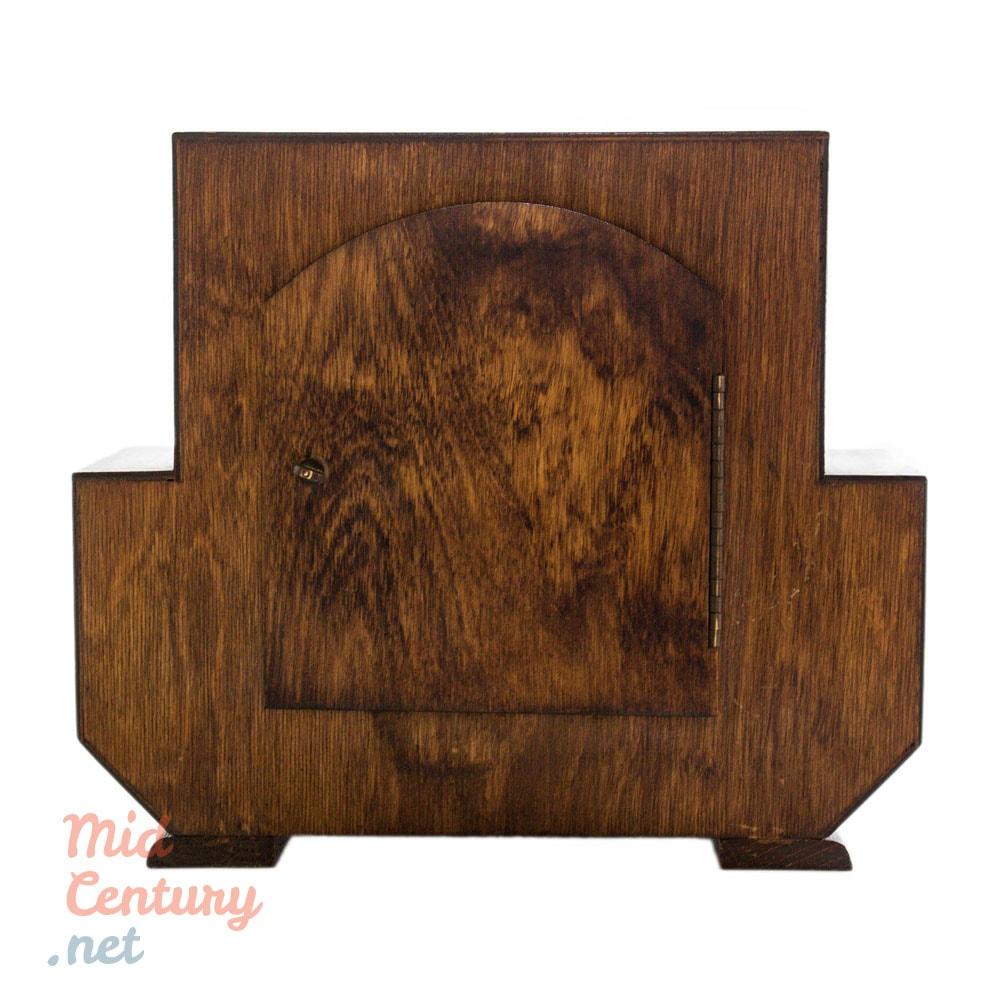 Art Deco mantel clock in wooden case