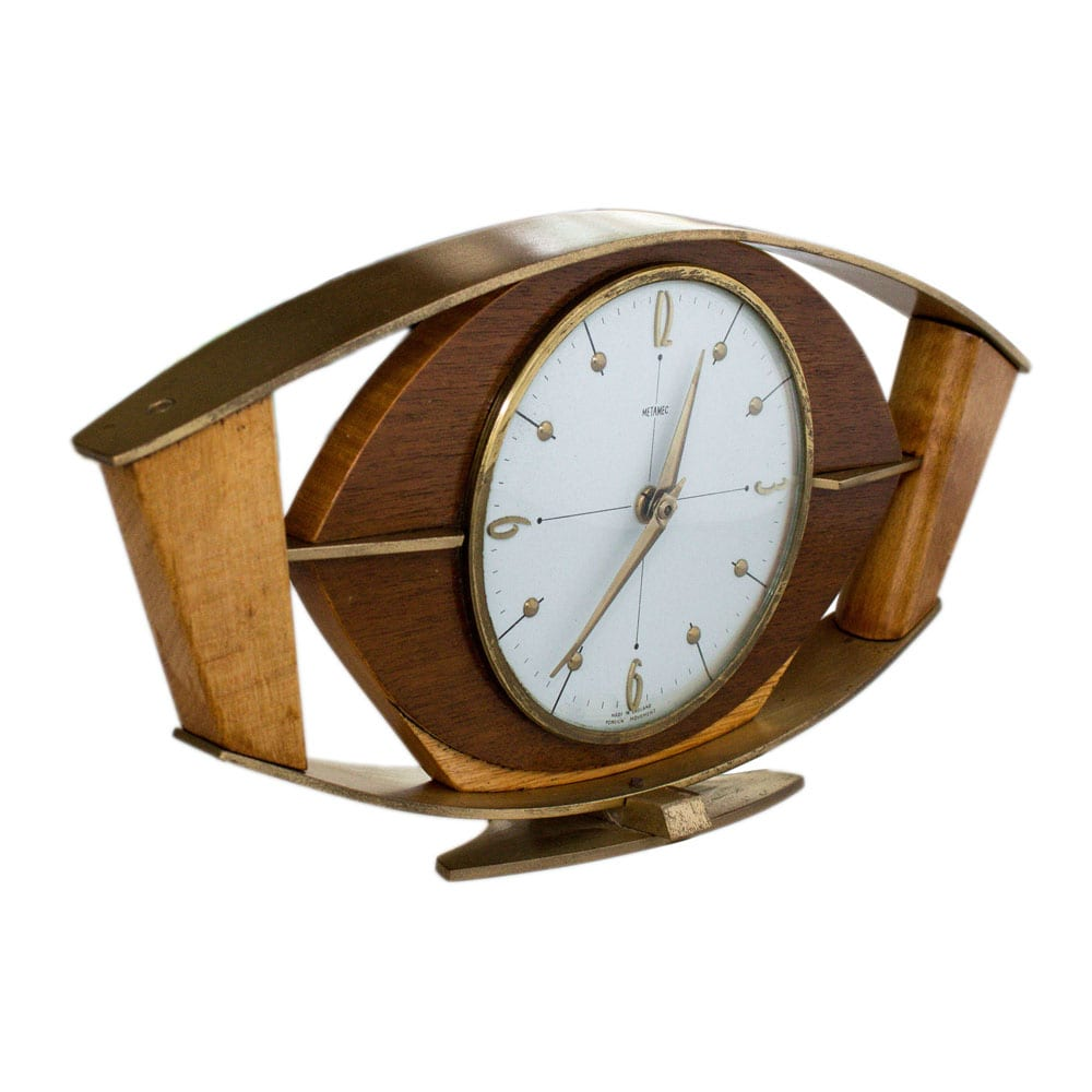Metamec mantel clock made of wood and brass