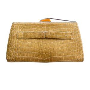 Reptile leather clutch handbag
