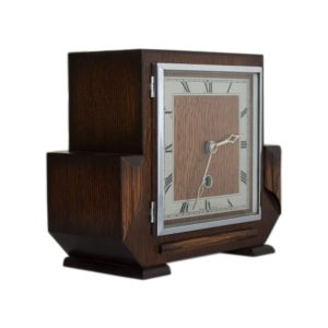 Art Deco mantel clock in wooden case