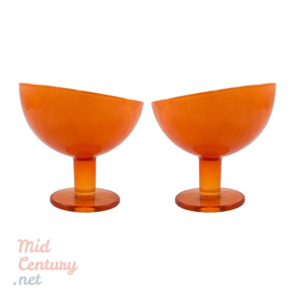 Set of two opaline cups made in Belgium, in the 1970s