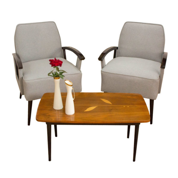 Beautiful Pair of Art Deco Armchairs made in Belgium in the 1970s