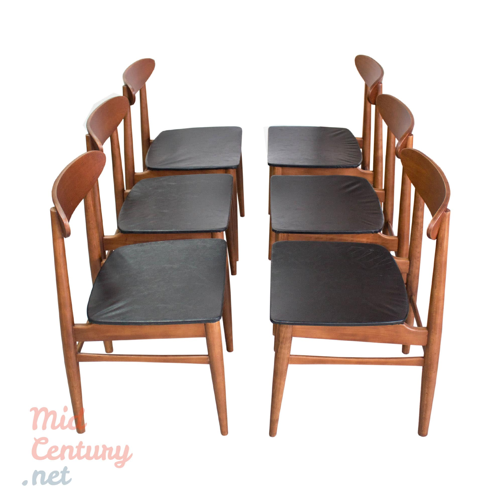 Set of 6 Danish teak dining chairs made in the 1960s