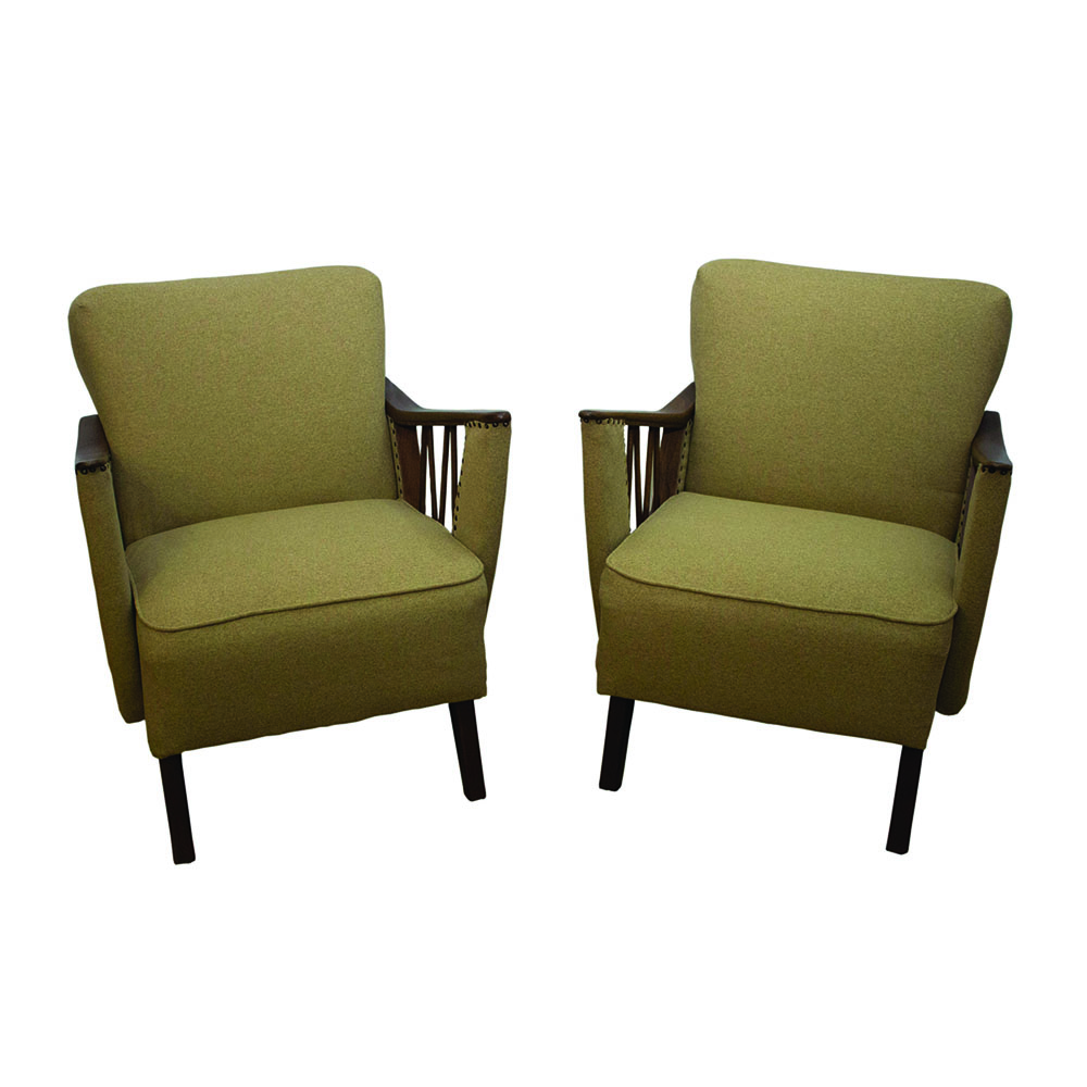 Mid-Century German olive armchairs, 1950s, set of two