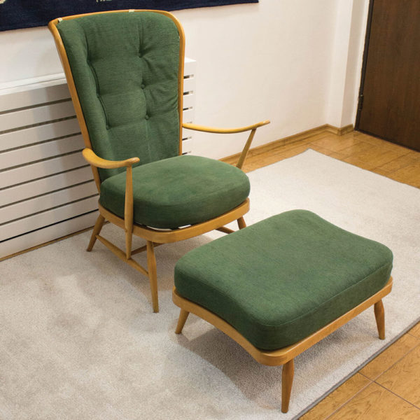 Windsor 478 armchair with ottoman by Lucian Ercolani for Ercol, 1950s, UK