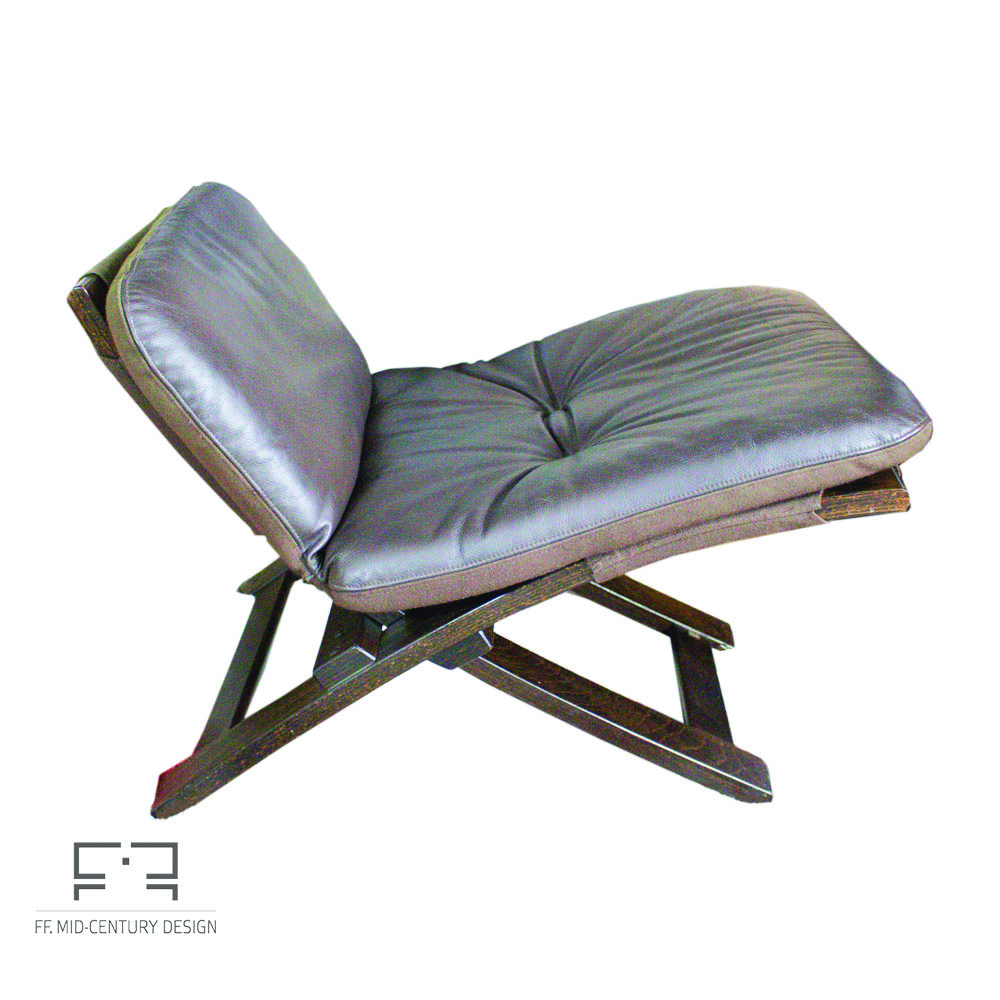 Kroken leather armchair with footstool by Ake Fribytter for Nelo Möbel,  1970s • Mid-Century
